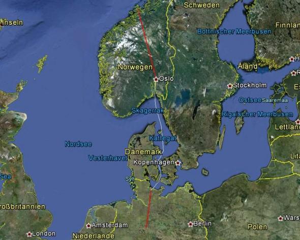 Unsere Strecke zum Norwegen Angelurlaub